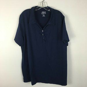 Avenue Womens Blue Collared Stretch Fit Polo Shirt